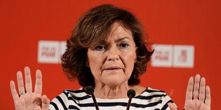Carmen Calvo, que pilotó las negociaciones en la anterior legislatura, no se ha pronunciado sobre el acuerdo. / EP