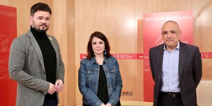 Rufián ha protagonizado las reuniones con el PSOE para hacer posible un acuerdo entre socialistas y republicanos. / EP